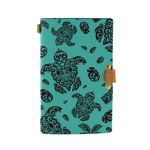 Hawaii Polynesian Turtle Palm And Sea Pebbles Turquoise Leather Notebook - AH - J6 - Alohawaii