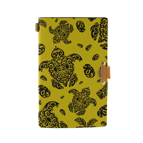 Hawaii Polynesian Turtle Palm And Sea Pebbles Yellow Leather Notebook - AH - J6 - Alohawaii