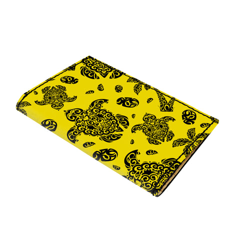 Hawaii Polynesian Turtle Palm And Sea Pebbles Yellow Leather Passport Holder - AH - J6 - Alohawaii