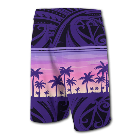 Hawaii Palm Trees Polynesian - Board Shorts - Purple - Haka Style - AH - J2 - Alohawaii