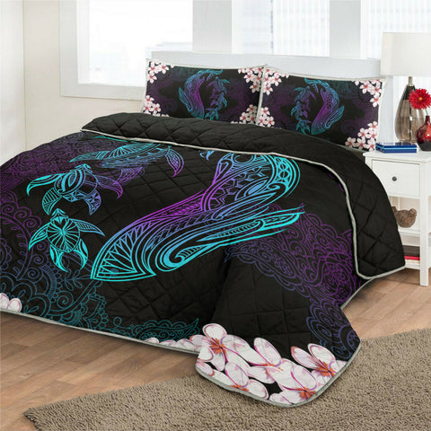 Hawaiian Shark Turtle Plumeria Quilt Bed Set - Black - Zelda Style