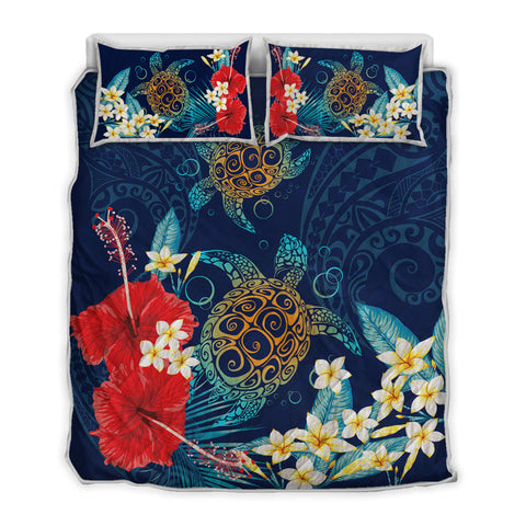 Image of Hawaiian Turtle Hibiscus Polynesian Quilt Bed Set - Blue - Edna Style - AH - J2