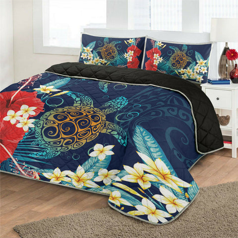Hawaiian Turtle Hibiscus Polynesian Quilt Bed Set - Blue