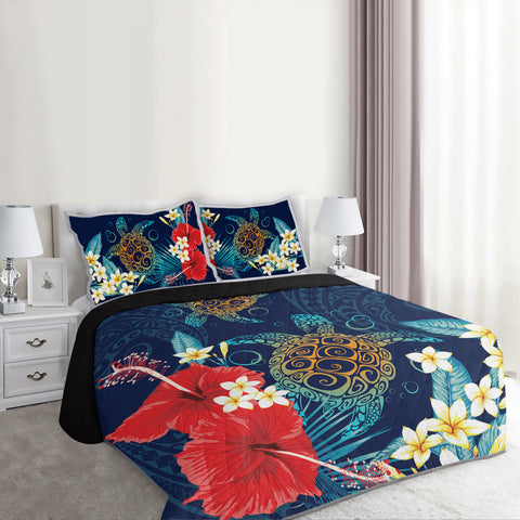 Hawaiian Turtle Hibiscus Polynesian Quilt Bed Set - Alohawaii