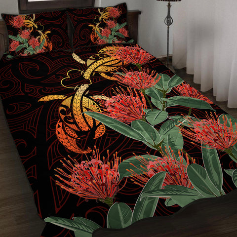 Image of Hawaii Turtle Lehua Flower Polynesian Quilt Bed Set - Lehua Style - AH - J2