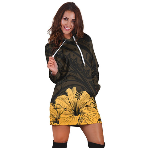 Royal Hibiscus Polynesian Tribal Golden Hoodie Dress - AH - JR | Hawaiian Women's Hoodie Dress - Hawaiian Hoodie Dress