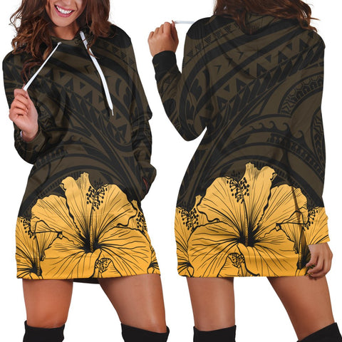 Royal Hibiscus Polynesian Tribal Golden Hoodie Dress - AH - JR
