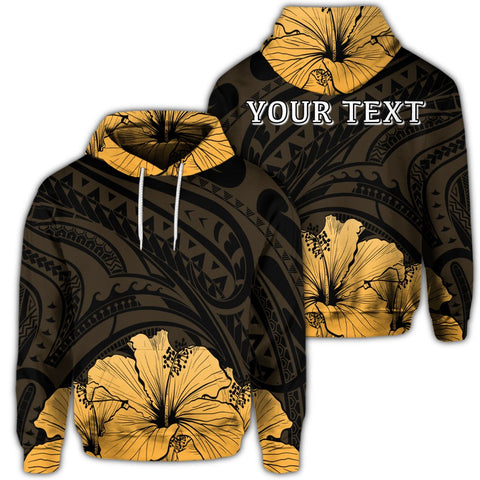 Royal Hibiscus Polynesian Tribal Golden Hoodie - AH - JR