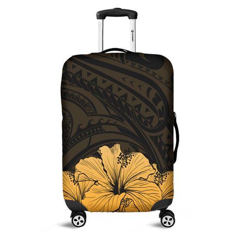 Royal Hibiscus Polynesian Tribal Golden Luggage Covers - AH - JRC