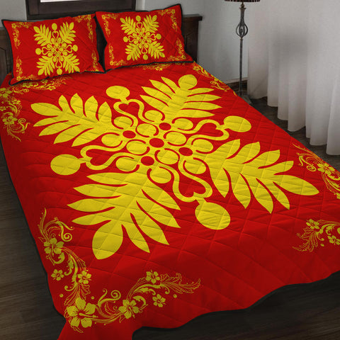 Hawaiian Quilt Maui Plant And Hibiscus Pattern Quilt Bed Set - Royal