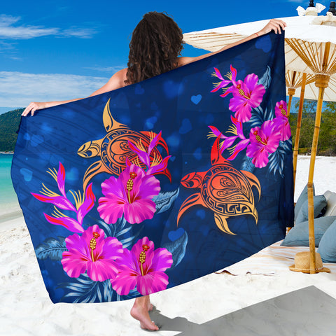 Hawaii Couple Turtle Hibiscus Valentine Sarong - Light Style - AH - J2
