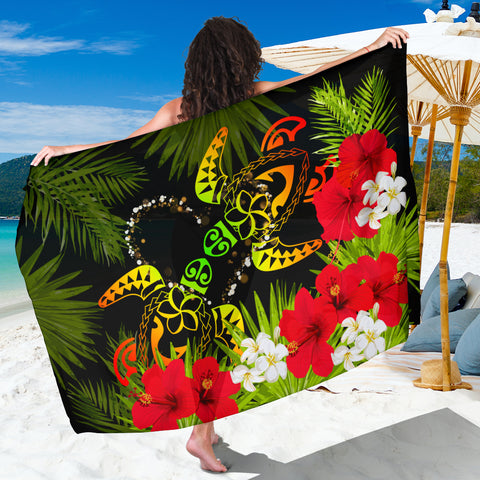 Hawaii Couple Turtle Hibiscus Tropical Valentine Sarong - Levi Style - AH - J2