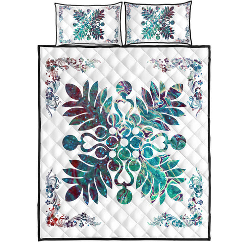 Hawaiian Quilt Maui Plant And Hibiscus Pattern Quilt Bed Set - Shell White - AH J8