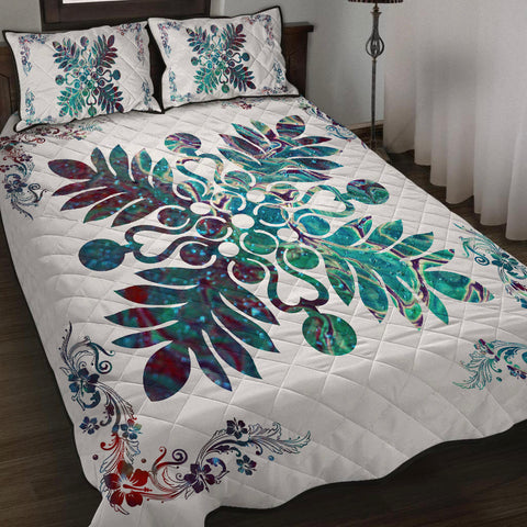 Hawaiian Quilt Maui Plant And Hibiscus Pattern Quilt Bed Set - Shell White