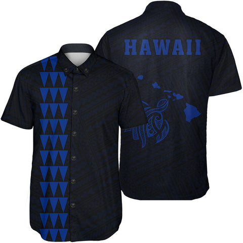 Hawaii Kakau Polynesian Turtle Map Short Sleeve Shirt - Blue - AH - J6 - Alohawaii