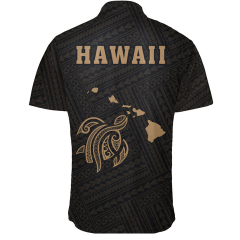 Hawaii Kakau Polynesian Turtle Map Short Sleeve Shirt - Gold - AH - J6 - Alohawaii