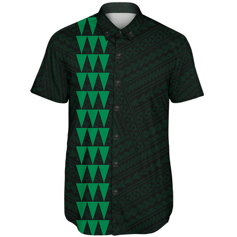 Image of Hawaii Kakau Polynesian Turtle Map Short Sleeve Shirt - Green - AH - J6 - Alohawaii