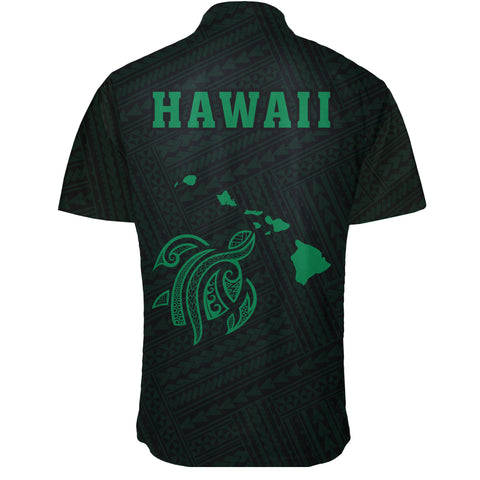 Hawaii Kakau Polynesian Turtle Map Short Sleeve Shirt - Green - AH - J6 - Alohawaii