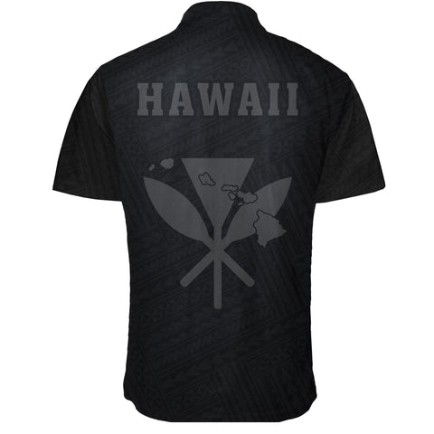 Image of Hawaii Kakau Polynesian Kanaka Map Short Sleeve Shirt - Grey - AH - J6 - Alohawaii