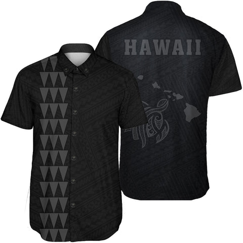 Hawaii Kakau Polynesian Turtle Map Short Sleeve Shirt - Grey - AH - J6 - Alohawaii