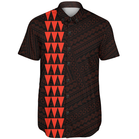 Image of Hawaii Kakau Polynesian Kanaka Map Short Sleeve Shirt - Orange - AH - J6 - Alohawaii