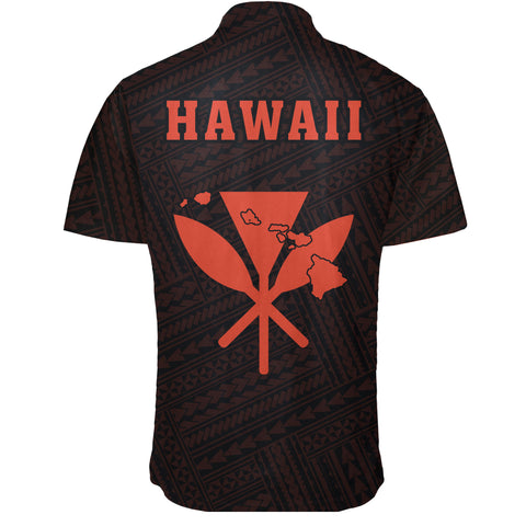 Hawaii Kakau Polynesian Kanaka Map Short Sleeve Shirt - Orange - AH - J6 - Alohawaii