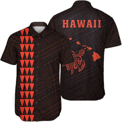 Hawaii Kakau Polynesian Turtle Map Short Sleeve Shirt - Orange - AH - J6 - Alohawaii