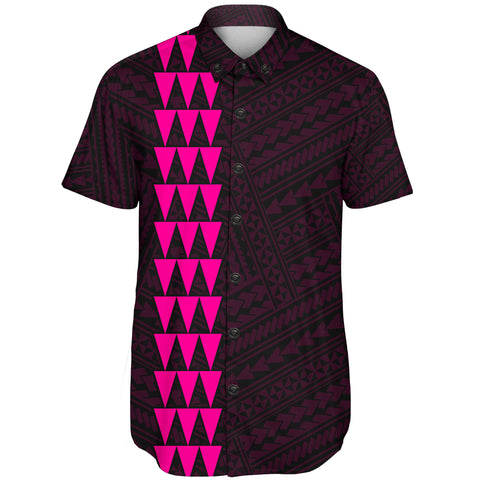 Image of Hawaii Kakau Polynesian Turtle Map Short Sleeve Shirt - Pink - AH - J6 - Alohawaii