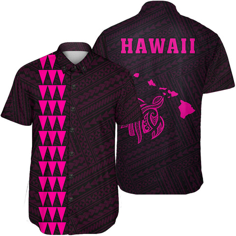 Hawaii Kakau Polynesian Turtle Map Short Sleeve Shirt - Pink - AH - J6 - Alohawaii