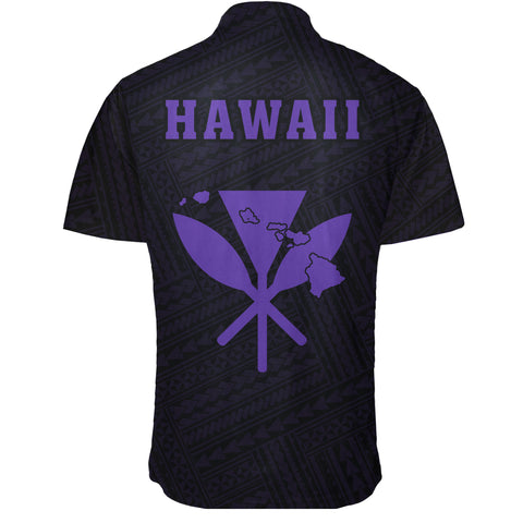 Image of Hawaii Kakau Polynesian Kanaka Map Short Sleeve Shirt - Purple - AH - J6 - Alohawaii