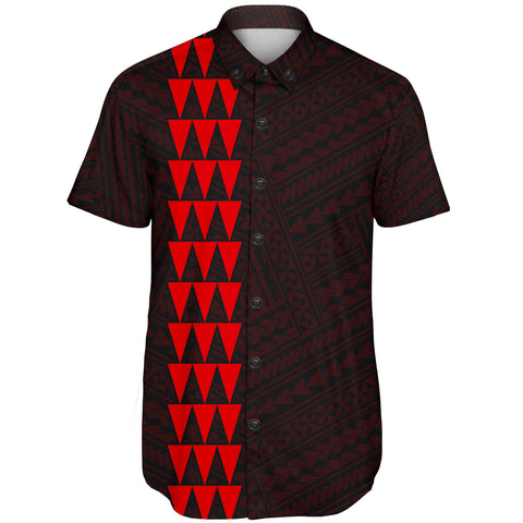 Image of Hawaii Kakau Polynesian Turtle Map Short Sleeve Shirt - Red - AH - J6 - Alohawaii