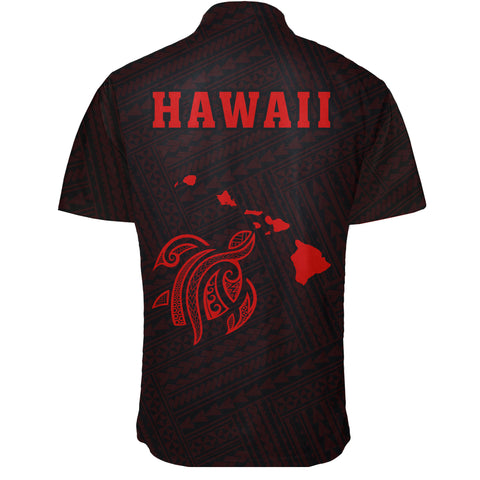 Hawaii Kakau Polynesian Turtle Map Short Sleeve Shirt - Red - AH - J6 - Alohawaii