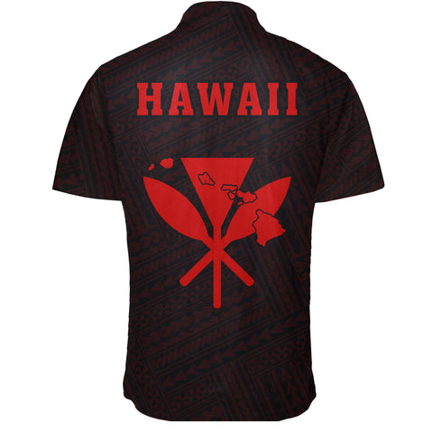 Image of Hawaii Kakau Polynesian Kanaka Map Short Sleeve Shirt - Red - AH - J6 - Alohawaii