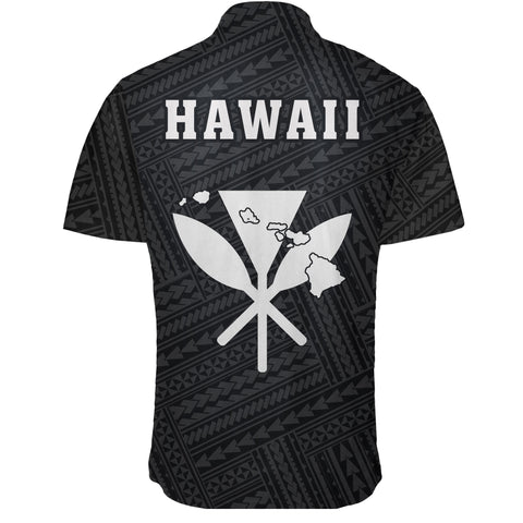 Image of Hawaii Kakau Polynesian Kanaka Map Short Sleeve Shirt - White - AH - J6 - Alohawaii