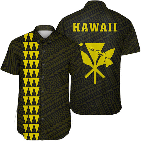 Image of Hawaii Kakau Polynesian Kanaka Map Short Sleeve Shirt - Yellow - AH - J6 - Alohawaii