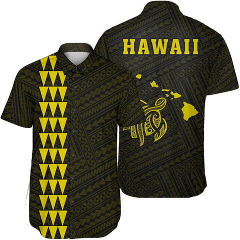 Hawaii Kakau Polynesian Turtle Map Short Sleeve Shirt - Yellow - AH - J6 - Alohawaii