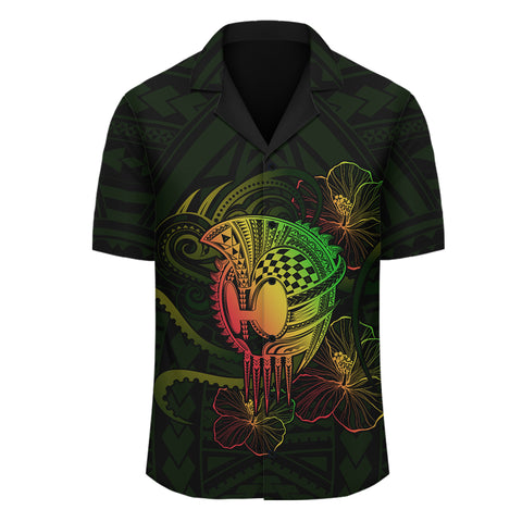 Hawaii Warrior Hibiscus Polynesian Hawaiian Shirt - AH - JA