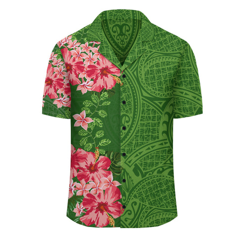 Image of Hibiscus Flowers Polynesian - Hawaiian Shirt - Green - Curtis Style