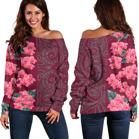 Hibiscus Flower Polynesian - Hawaiian Women's Off Shoulder Sweater - Curtis Style - AH - J2