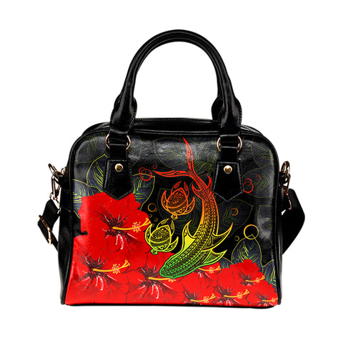 Hawaii Shark Turtle Hibiscus Polynesian Shoulder Handbag - Vera Style - AH - J2