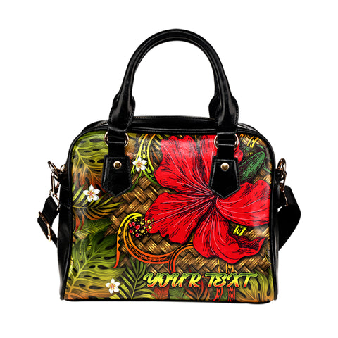 Hawaii Lauhala Hibiscus Polynesian Tropical Shoulder Handbag