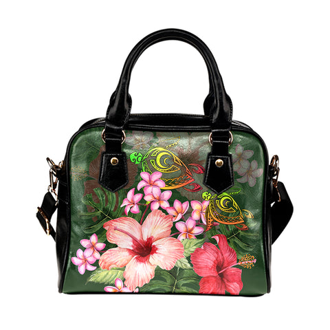 Hawaii Turtle Tropical Flower Shoulder Handbag - Deni Style - AH - J2
