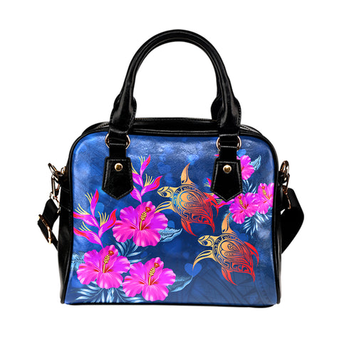 Hawaii Couple Turtle Hibiscus Valentine Shoulder Handbag - Light Style - AH - J2