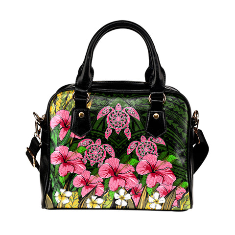 Hawaii Turtle Hibiscus Tropical Polynesian Shoulder Handbag - Floren Style - AH - J2