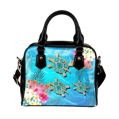 Hawaii Turtle Ocean Tropical Flowers Shoulder Handbag - Siri Style - AH - J2