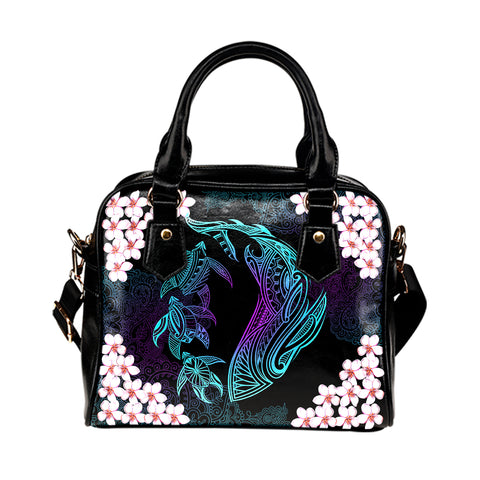 Hawaii Shark Turtle Plumeria Shoulder Handbag - Black - Zelda Style - AH - J2