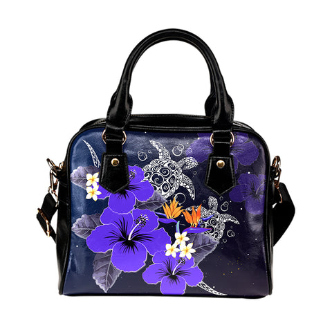 Hawaii Turtle Purple Hibiscus Polynesian Shoulder Handbag - Anne Style - AH - J2