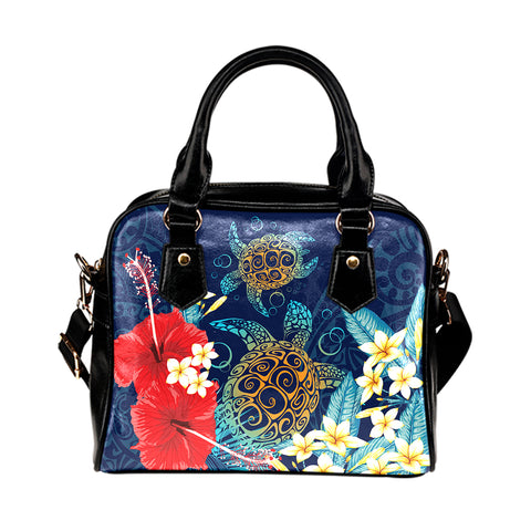 Hawaii Turtle Hibiscus Polynesian Shoulder Handbag - Blue - Edna Style - AH - J2