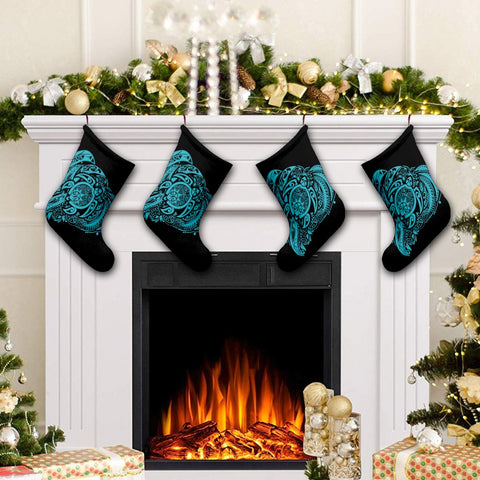Image of Simple Christmas Stocking Blue AH - J7R