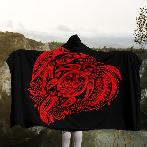Image of Simple Hooded Blanket Red AH - J7R | Hawaii Hooded Blanket - Hawaiian Hooded Blanket - Hooded Blanket For You